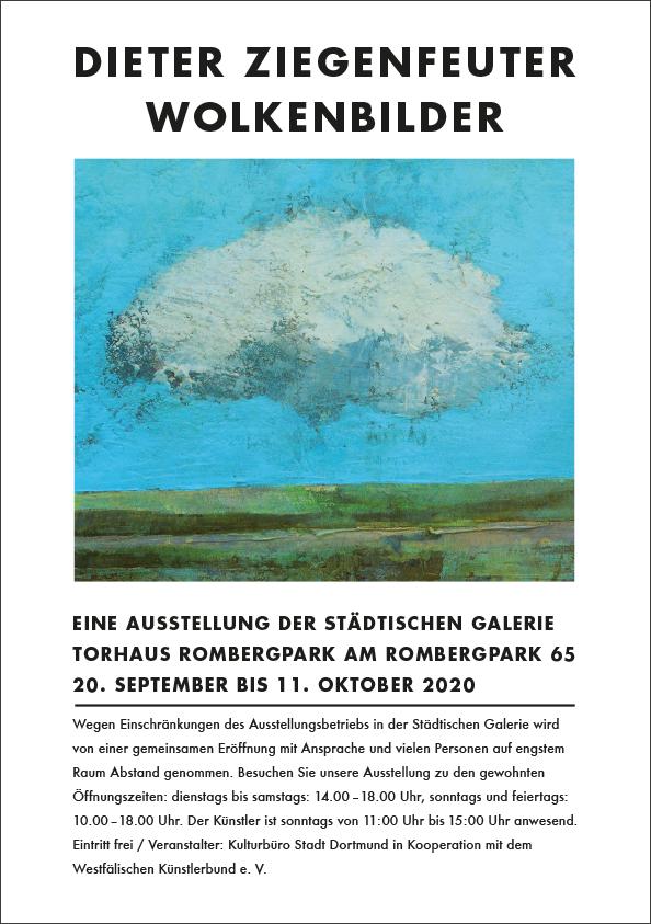 """20.9. -11.10.2020 – Städtischen Galerie Torhaus Rombergpark – Dieter Ziegenfeuter – """"Wolkenbilder"""""""